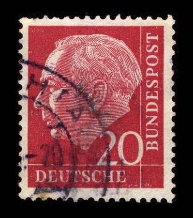 theodor: GERMANY-CIRCA 1968:A stamp printed in GERMANY shows image of the Theodor Heuss (31 January 1884 - 12 December 1963) was a German politician and served as the first President of the Federal Republic of Germany from 1949 to 1959, circa 1968.