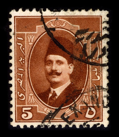 farouk: EGYPT-CIRCA 1950:A stamp printed in EGYPT shows image of Farouk I of Egypt  (11 February 1920 - 18 March 1965), was the tenth ruler from the Muhammad Ali Dynasty and the penultimate King of Egypt and Sudan, circa 1950. Editorial