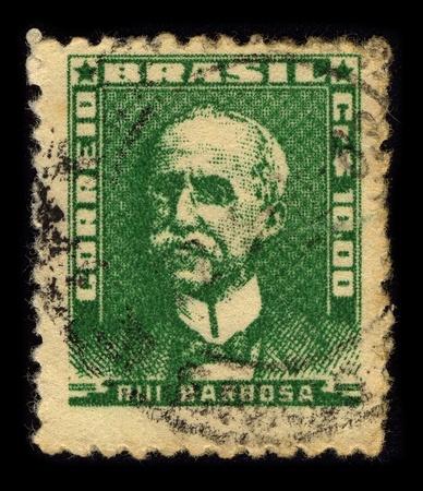 jurist: BRAZIL-CIRCA 1956:A stamp printed in BRAZIL shows image of Ruy Barbosa de Oliveira (November 5, 1849 - March 1, 1923) was a Brazilian writer, jurist, and politician, circa 1956.