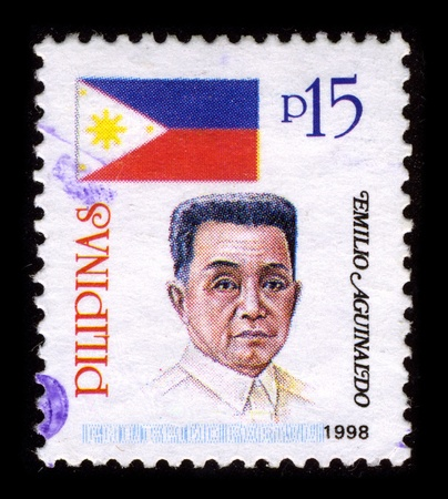 PHILIPPINES-CIRCA 1998:A stamp printed in PHILIPPINES shows image of Emilio Aguinaldo y Famy (March 22, 1869 - February 6, 1964) was a Filipino general, politician, and independence leader, circa 1998. Stock Photo - 9243875