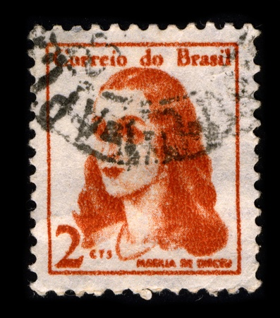 neoclassic: BRAZIL-CIRCA 1967:A stamp printed in BRAZIL shows image of Marilia de Dirceu is a poetry book written by Portuguese Brazilian Neoclassic poet Tomas Antonio Gonzaga, circa 1967. Editorial