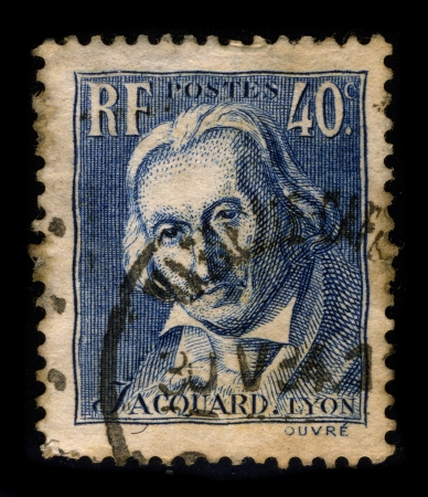 FRANCE-CIRCA 1934:A stamp printed in FRANCE shows image of Joseph Marie Charles dit (called or nicknamed) Jacquard played an important role in the development of the earliest programmable loom (the Jacquard loom), which in turn played an important role