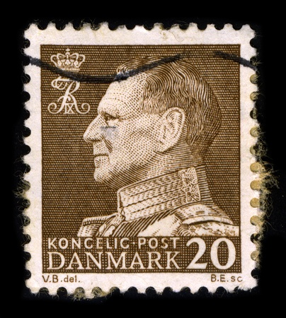 DENMARK-CIRCA 1970:A stamp printed in DENMARK shows image of Frederick IX (Christian Frederik Franz Michael Carl Valdemar Georg) (11 March 1899 - 14 January 1972) was King of Denmark from 20 April 1947 until his death, circa 1970.