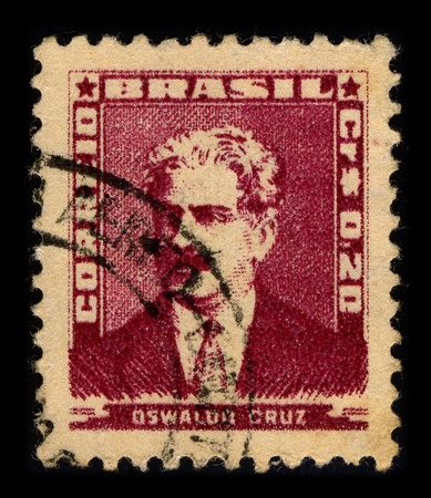 founder: BRAZIL-CIRCA 1954:A stamp printed in BRAZIL shows image of Oswaldo Goncalves Cruz, better known as Oswaldo Cruz was a Brazilian physician, bacteriologist, epidemiologist and public health officer and the founder of the Oswaldo Cruz Institute, circa 1954.