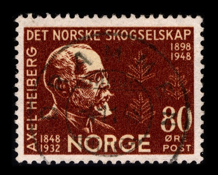 NORWAY-CIRCA 1948:A stamp printed in NORWAY shows image of Axel Heiberg (16 March 1848 - 4 September 1932) was a Norwegian diplomat, financier and patron., circa 1948.