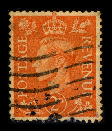 UNITED KINGDOM - CIRCA 1937: A stamp printed in UNITED KINGDOM shows image portrait George VI (Albert Frederick Arthur George; 14 December 1895 - 6 February 1952) was King of the United Kingdom and the British Dominions from 11 December 1936 until his dea Editorial