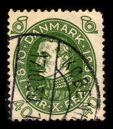 DENMARK-CIRCA 1930:A stamp printed in DENMARK shows image of Christian X (Christian Carl Frederik Albert Alexander Vilhelm) (26 September 1870 - 20 April 1947) was King of Denmark from 1912 to 1947 and the only King of Iceland between 1918 and 1944, circa