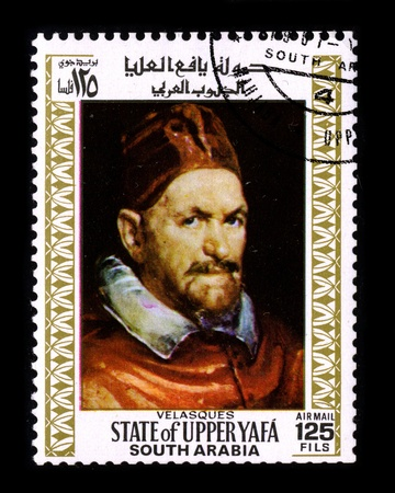 velazquez: SOUTH ARABIA - CIRCA 1981:A stamp printed in SOUTH ARABIA shows image of  The Portrait of Pope Innocent X is an oil on canvas portrait by the Spanish painter Diego Velazquez, which he finished during a trip to Italy around 1650, circa 1981. Editorial