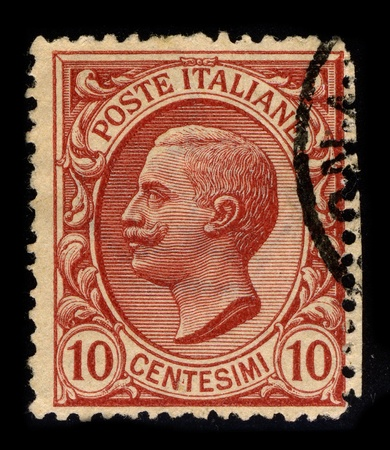 philately: ITALY-CIRCA 1906:A stamp printed in ITALY shows image of Victor Emmanuel III (Italian: Vittorio Emanuele III; 11 November 1869 - 28 December 1947) was a member of the House of Savoy and King of Italy (29 July 1900 - 9 May 1946), circa 1906.