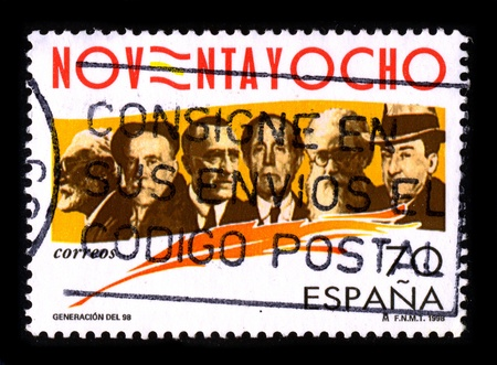 philosophers: SPAIN-CIRCA 1998:A stamp printed in SPAIN shows image of The Generation of 98  was a group of novelists, poets, essayists, and philosophers active in Spain at the time of the Spanish-American War (1898), circa 1998.