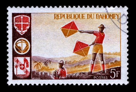 scouts: REPUBLIQUE DU DAHOMEY-CIRCA 1990:A stamp printed in REPUBLIQUE DU DAHOMEY shows image of the Scouts in Africa, circa 1990.