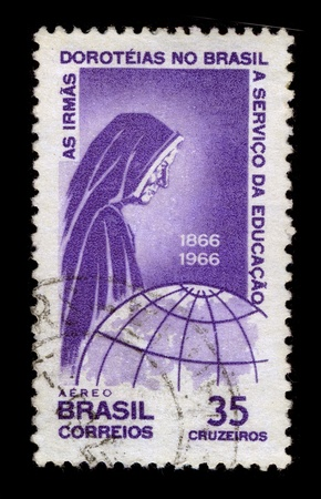 BRAZIL-CIRCA 1966:A stamp printed in BRAZIL shows image of The Faculty of Philosophy Saint Dorothy, FFSD acronym, is a Brazilian institution of higher education located in the mountain town of Nova Friburgo, in the interior of Rio de Janeiro, circa 1966.