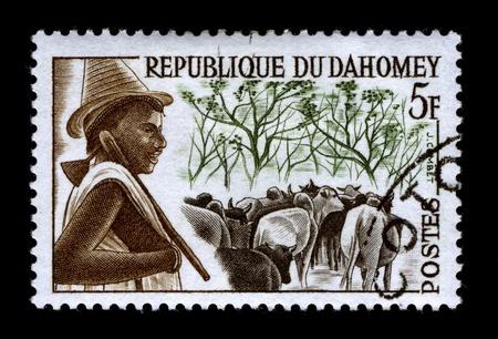REPUBLIQUE DU DAHOMEY-CIRCA 1968:A stamp printed in REPUBLIQUE DU DAHOMEY shows image of the Livestock in Africa, circa 1968. Stock Photo - 9272153