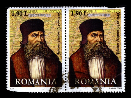theologian: ROMANIA-CIRCA 2007:Two stamp printed in ROMANIA shows image of Johannes Honter was a Siebenbuerger Saxon (Saxon) humanist and theologian, circa 2007.