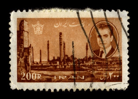 shah: IRAN-CIRCA 1960:A stamp printed in IRAN shows image of Mohammad Reza Shah Pahlavi, Shah of Iran, ruled Iran from 16 September 1941 until his overthrow by the Iranian Revolution on 11 February 1979, circa 1960. Editorial