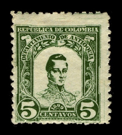 COLOMBIA-CIRCA 1899:A stamp printed in COLOMBIA shows image of Jose Maria Cordoba also known as the