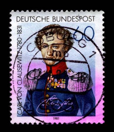 berserk: GERMANY-CIRCA 1981:A stamp printed in GERMANY shows image of the Carl Philipp Gottfried von Clausewitz (June 1, 1780 - November 16, 1831) was a Prussian soldier and German military theorist who stressed the moral and political aspects of war, circa 1981. Editorial