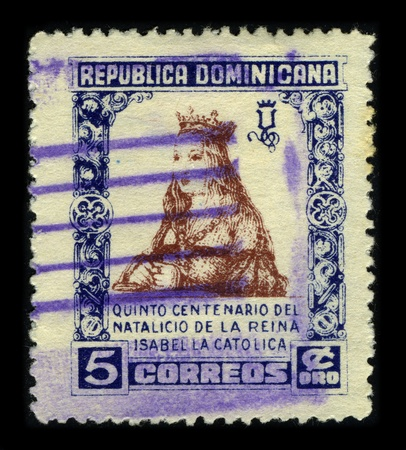 queen isabella: REPUBLICA DOMINICANA-CIRCA 1930:A stamp printed in REPUBLICA DOMINICANA shows image of Isabella I (Spanish: Isabel I, Ysabel, Galician: Sabela I) (22 April 1451 � 26 November 1504) was Queen of Castile and Leon, circa 1930.