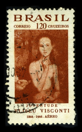 BRAZIL-CIRCA 1966:A stamp printed in BRAZIL shows image painting of Eliseu Visconti, born Eliseo dAngelo Visconti (30 June 1866, Italy, - 15 October 1944, Rio de Janeiro, Brazil) is a painter, cartoonist and Brazilian teacher Interphil, circa 1966.