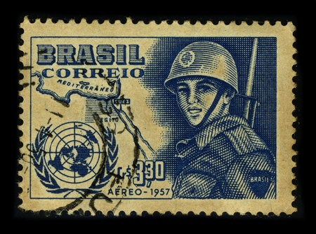 BRAZIL-CIRCA 1957:A stamp printed in BRAZIL shows image of the Armed forces of Brazil, circa 1957.