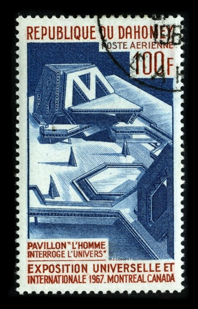 commonly: REPUBLIQUE DU DAHOMEY-CIRCA 1967:A stamp printed in REPUBLIQUE DU DAHOMEY shows image of The 1967 International and Universal Exposition or Expo 67, as it was commonly known, was the general exhibition, Category One Worlds Fair held in Montreal, Quebec,