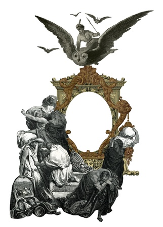 groupe: Old Vintage Victorian frame with frightened people.