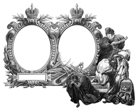 consternation: Old Vintage Victorian frame with frightened people.