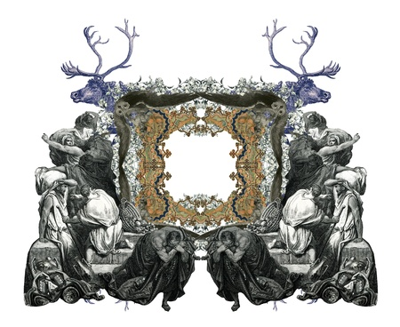 consternation: Old Vintage Victorian frame with frightened people and two deer.