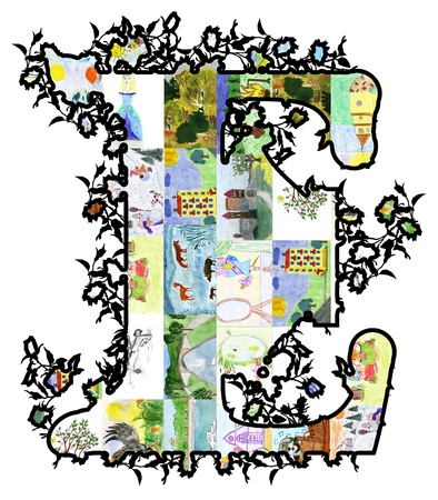 The letter E of children's drawings. Made by child.  Stock Photo - 9591865