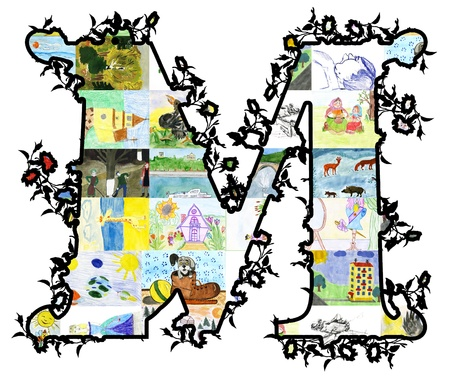 The letter M of children's drawings. Made by child.