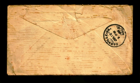 The reverse side of the mail envelope. Imagens