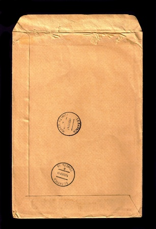 The reverse side of the mail envelope. photo