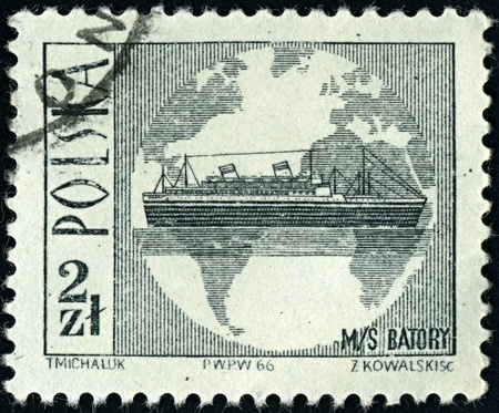 POLAND-CIRCA 1966:A stamp printed in POLAND shows image of steamer