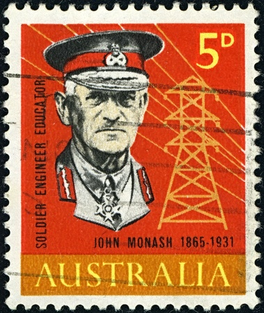 AUSTRALIA-CIRCA 1965: A stamp printed in AUSTRALIA shows image of General Sir John Monash was a civil engineer who became the Australian military commander in the First World War, circa 1965.