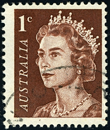 constitutional: AUSTRALIA-CIRCA 1966:A stamp printed in AUSTRALIA shows image of Elizabeth II (Elizabeth Alexandra Mary, born 21 April 1926) is the constitutional monarch of United Kingdom in brown, circa 1966.