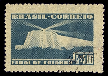 BRAZIL-CIRCA 1946:A stamp printed in BRAZIL shows image of Columbus Lighthouse (Spanish: Faro a Colon) is a monument located in Santo Domingo Este, Dominican Republic, in tribute to Christopher Columbus, circa 1946.