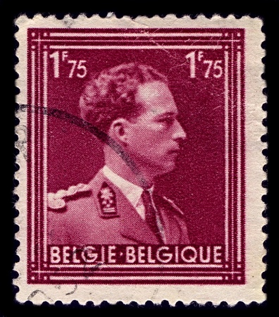heir: BELGIUM-CIRCA 1950:A stamp printed in BELGIUM shows image of Leopold III reigned as King of the Belgians from 1934 until 1951,circa 1950.