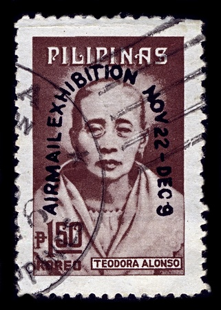 PHILIPPINES-CIRCA 1974:A stamp printed in PHILIPPINES shows image of Teodora Morales Alonzo Realonda y Quintos was the mother of Philippine national hero Jose Rizal, and a native of Sta. Cruz, Manila, circa 1974. Editorial