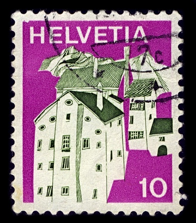 Switzerland-CIRCA 1973:A stamp printed in Switzerland shows image of Splugen (Romansh: Spleia) is a municipality in the district of Hinterrhein in the Swiss canton of Graubunden, circa 1973. Stock Photo - 10052253