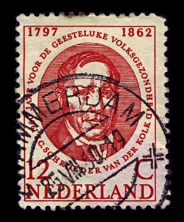 NETHERLANDS-CIRCA 1960:A stamp printed in NETHERLANDS shows image of Jacobus Ludovicus Conradus Schroeder van der Kolk was a Dutch anatomist and physiologist, and an influential researcher into the causes of epilepsy and mental illness, circa 1960.