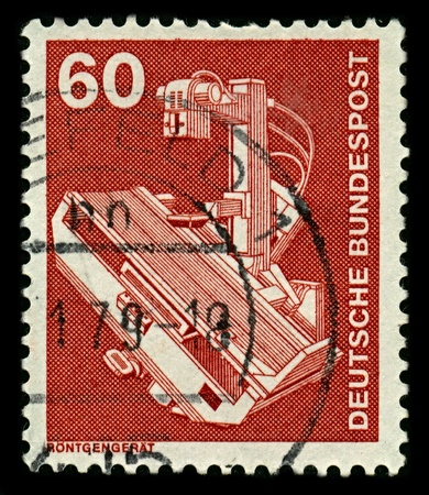 GERMANY-CIRCA 1979:A stamp printed in GERMANY shows image of An X-ray generator is a device used to generate X-rays, circa 1979.