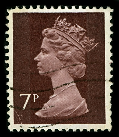 alexandra: ENGLAND-CIRCA 1971:A stamp printed in ENGLAND shows image of Elizabeth II (Elizabeth Alexandra Mary, born 21 April 1926) is the constitutional monarch of United Kingdom in brown, circa 1971.