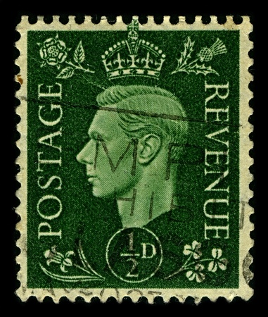 dominions: ENGLAND-CIRCA 1937:A stamp printed in ENGLAND shows image of George VI  was King of the United Kingdom and the Dominions of the British Commonwealth from 11 December 1936 until his death, circa 1937. Editorial
