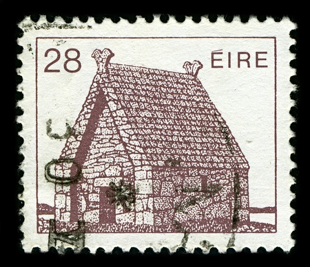 IRELAND-CIRCA 1985:A stamp printed in IRELALN shows image of A church building is a building or structure whose primary purpose is to facilitate the meeting of a church, circa 1985.