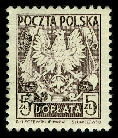 POLAND-CIRCA 1951:A stamp printed in POLAND shows image of The White Eagle (Polish: Orzel Bialy) is the national coat of arms of Poland, circa 1951.