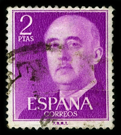 nominally: SPAIN-CIRCA 1975:A stamp printed in SPAIN shows image of Francisco Paulino Hermenegildo Teodulo Franco y Bahamonde, was a Spanish dictator, military general and head of state of Spain, circa 1975. Editorial