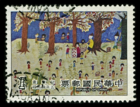 chinese postage stamp: CHINA-CIRCA 2010:A stamp printed in CHINA shows image of Pictures of Chinese children, circa 2010.