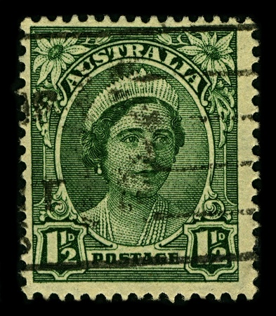 AUSTRALIA-CIRCA 1942:A stamp printed in AUSTRALIA shows image of Elizabeth Bowes-Lyon  was the Queen consort of King George VI from 1936 until her husbands death in 1952, circa 1942.