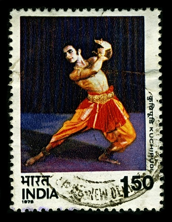 kuchipudi: INDIA-CIRCA 1975:A stamp printed in INDIA shows image of Kuchipudi  is a Classical Indian dance form from Andhra Pradesh, India, circa 1975.