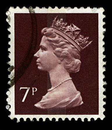 commonwealth: ENGLAND-CIRCA 1975:A stamp printed in ENGLAND shows image of Elizabeth II (Elizabeth Alexandra Mary, born 21 April 1926) is the constitutional monarch of United Kingdom in brown, circa 1975.